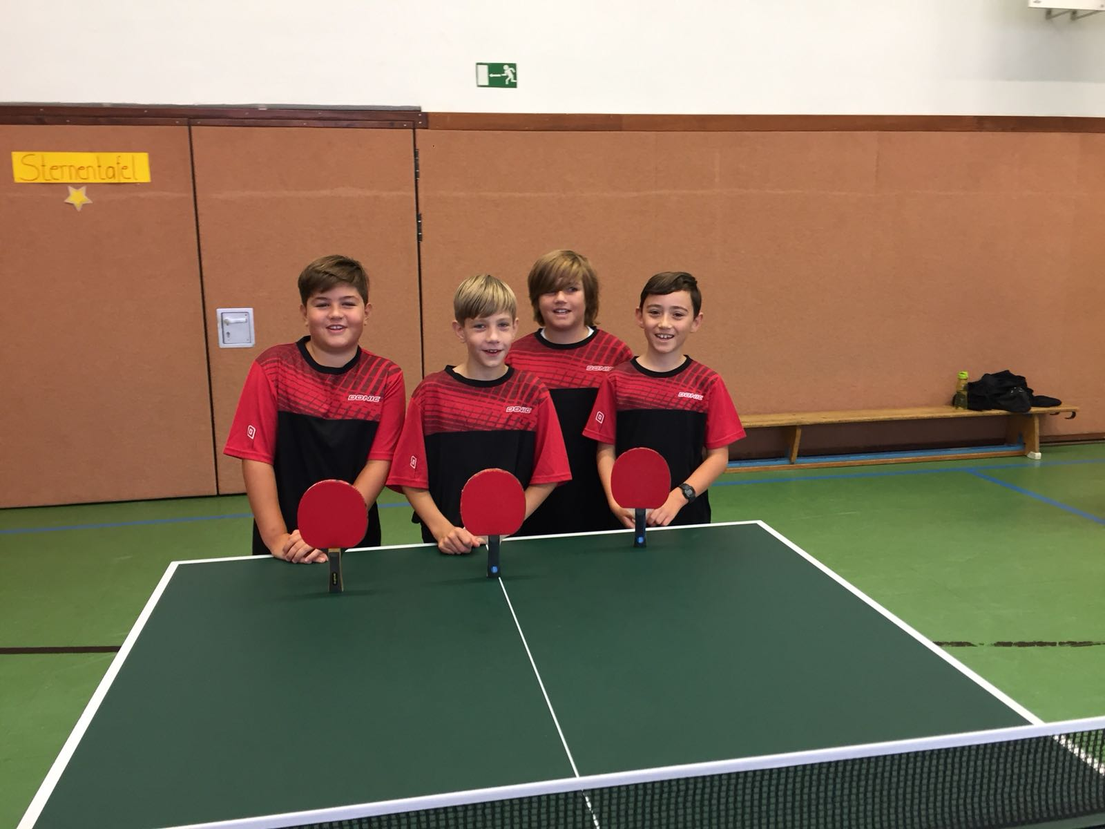 Unsere B-Schüler beim Spiel gegen die TSG 78 Heidelberg: Kian, Jakob, Moritz und Paul